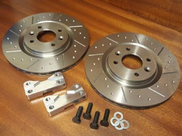 Brake Discs Front 285mm Big Brake Conversion Pair Dimpled + Grooved